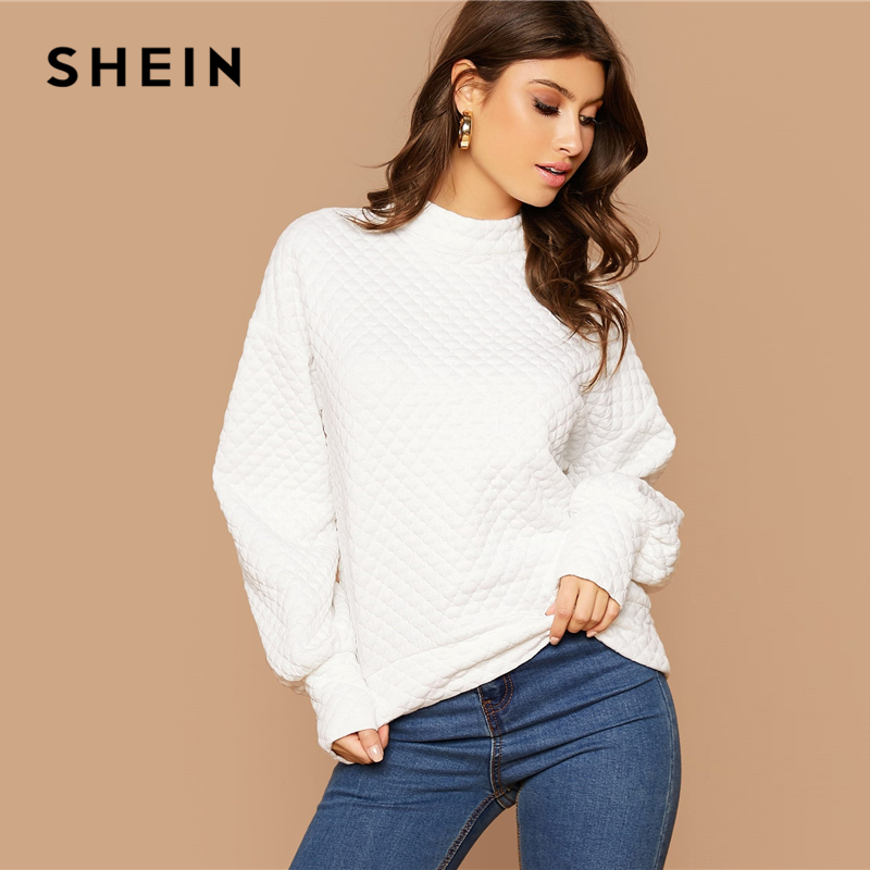 SHEIN White Button Back Lantern Sleeve Textured Pullover Women Tops Autumn Stand Collar Long Sleeve Basic Casual Sweatshirts