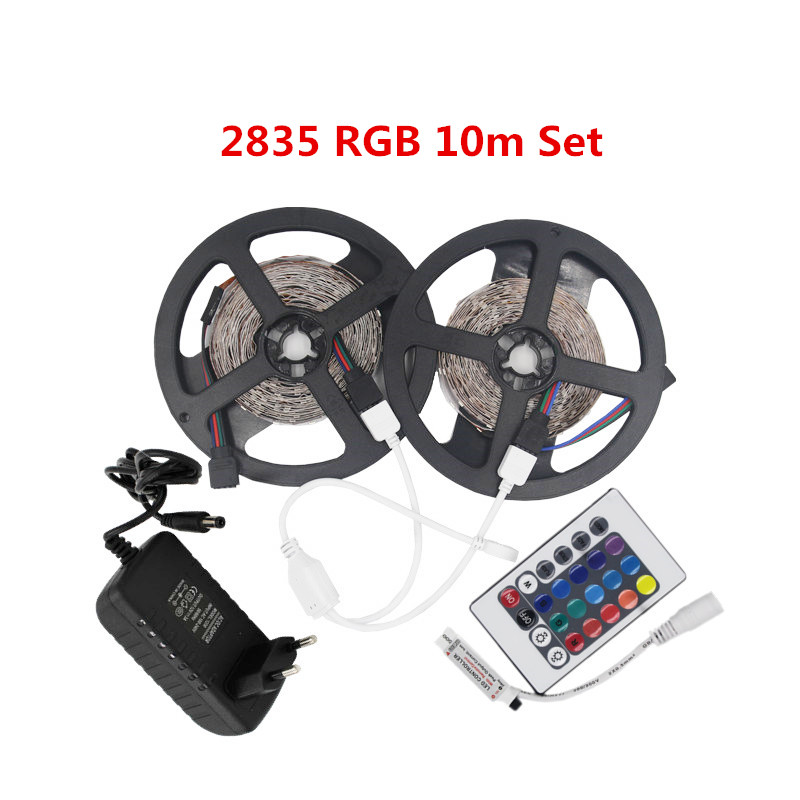 5m 10m Waterproof 2835SMD LED Flexible Light Strips RGB Warm White Red Blue Green 12v DC One Set With Adapter Controller