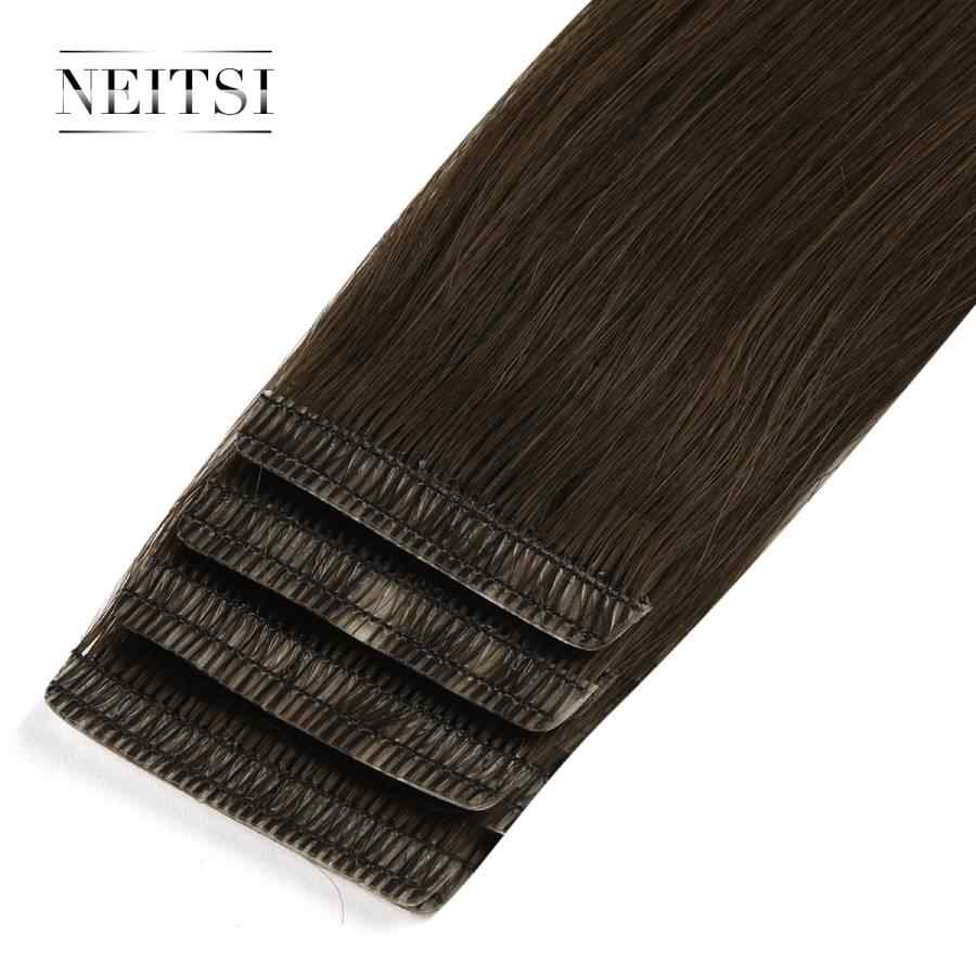 "Neitsi Double Drawn Love Line Tape In Remy Human Hair Extensions Invisible Skin Weft Hair Straight 16"" 20"" 24"" Black Blonde"