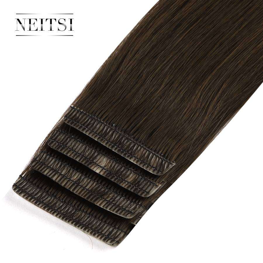 Neitsi Double Drawn Love Line Tape In Remy Human Hair Extensions Invisible Skin Weft Hair Straight 16