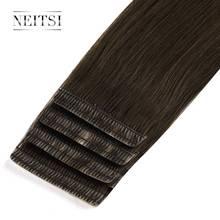 """Neitsi Double bande de ligne damour dessinée dans les Extensions de cheveux humains Remy Invisible peau trame cheveux droite 16 """"20"""" 24 """"noir blond"""