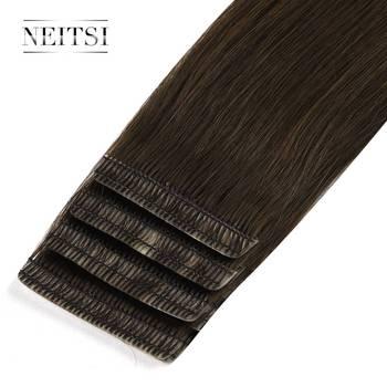 Neitsi podwójne wyciągnąć miłość linii taśmy w Remy doczepy z ludzkich włosów niewidoczne skóry wątek włosy proste 16 #8222 20 #8221 24 #8243 czarny blond tanie i dobre opinie 2 g sztuka Remy Tape In Remy włosy