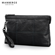MANBERCE 2019 New Leather Hand Bag Mens Envelope Trend Fashion Top Cowhide Free Shipping