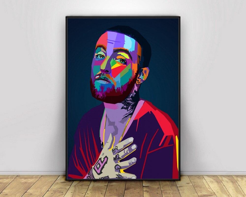 mac miller pop art hiphop rapper music singer poster print wall art canvas painting home decor canvas print no frame