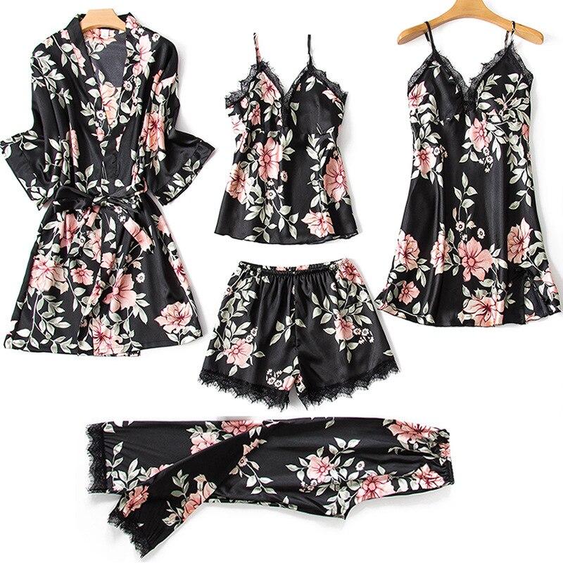 Image 3 - Women's Pajamas 5 Pieces Sets Silk Satin Floral Print Pyjama Set Sexy Pajamas with Pad Lace Night Suits Sleepwear Home Clothes-in Pajama Sets from Underwear & Sleepwears