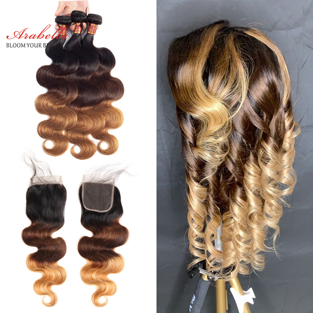 1B/4/27 Ombre   Bundles With Closure Arabella Body Wave 100%  Hair  With Closure Free/Three Parts 1