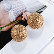 цена на AMORCOME Vintage Metal Gold Color Semicircle Stud Earrings For Women Fashion Half Ball Earrings Geometric Holiday Jewelry Gifts