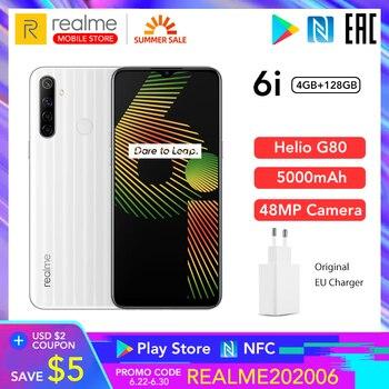 Купить Realme 6i глобальная версия 6 i мобильный телефон 4 ГБ ОЗУ 128 Гб ПЗУ 5000 мАч аккумулятор Helio G80 6,5 дюймдисплей 48MP камера NFC Play Store