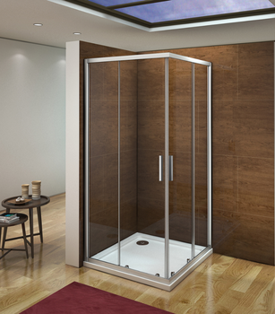 Screens Angle Double Sliding Doors Gray Matte Crystal 5mm For Shower