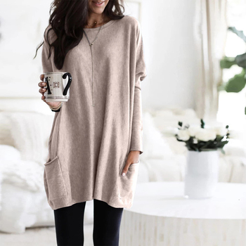 Casual Dress Women Autumn Loose O Neck Long Sleeve Pockets T-shirt Dress Solid Color Simple Winter Warm Plus Size Vestidos XXXL 2
