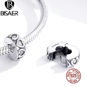 BISAER Vintage Heart Open Stooper Beads 925 Sterling Silver Spacer Charms Pendant Fit DIY Bracelet Bangle Jewelry Making ECC1557 slovecabin 2017 new unique moment open bangle bracelet for women 925 sterling silver pave stone open bangle for bead diy jewelry