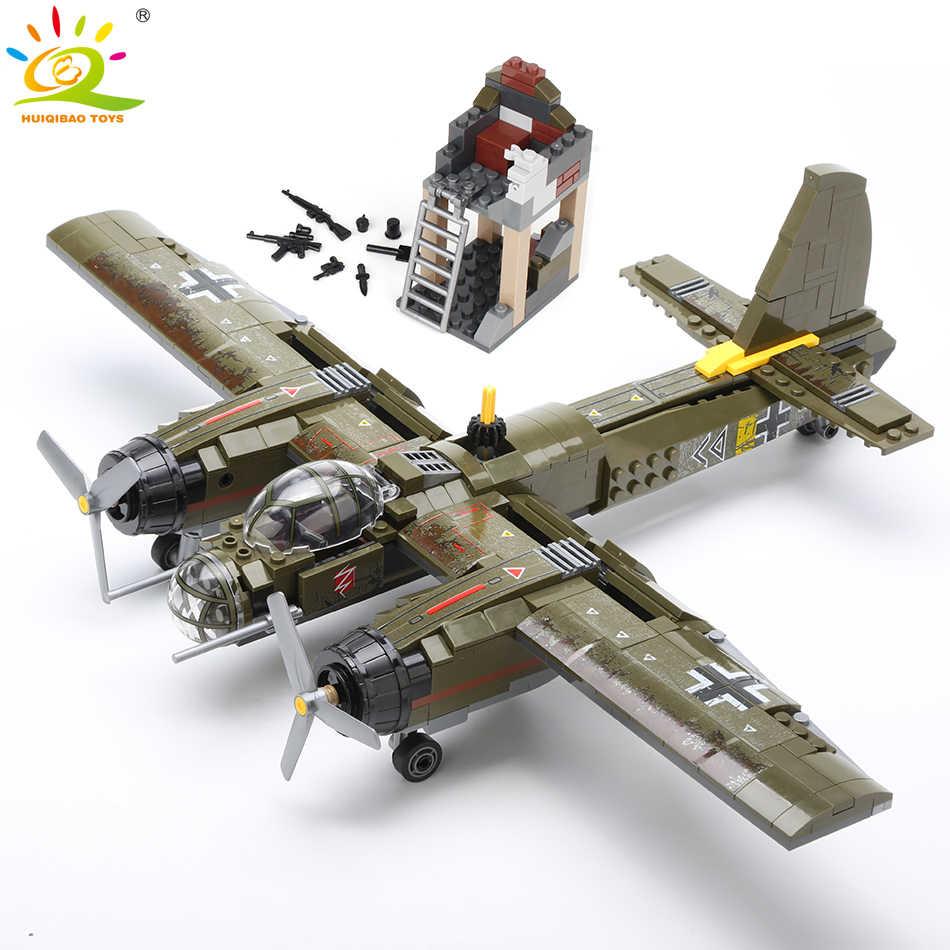 HUIQIBAO 559 Uds avión militar Ju-88 de bombardeo bloque de construcción WW2 helicóptero del ejército arma soldado bloques de modelismo Kit de juguete para niños