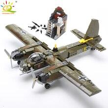 HUIQIBAO 559 sztuk wojskowy Ju 88 bombowanie samolot klocki do budowy WW2 helikopter armia broń Model żołnierza cegły zestaw zabawka dla dzieci