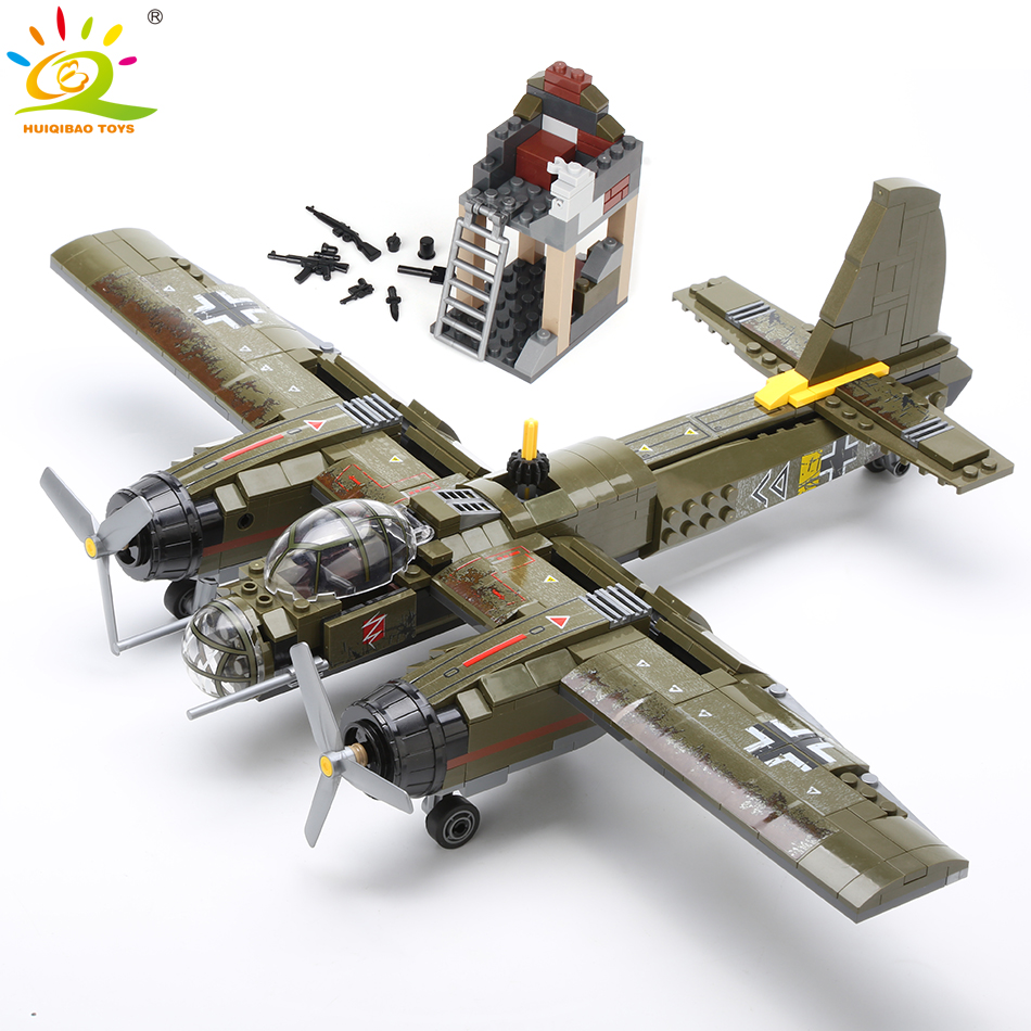 HUIQIBAO 559pcs Military Ju 88 bombing plane Building Block WW2 Helicopter Army weapon soldier model bricks kit Toy for children|Blocks| |  - AliExpress