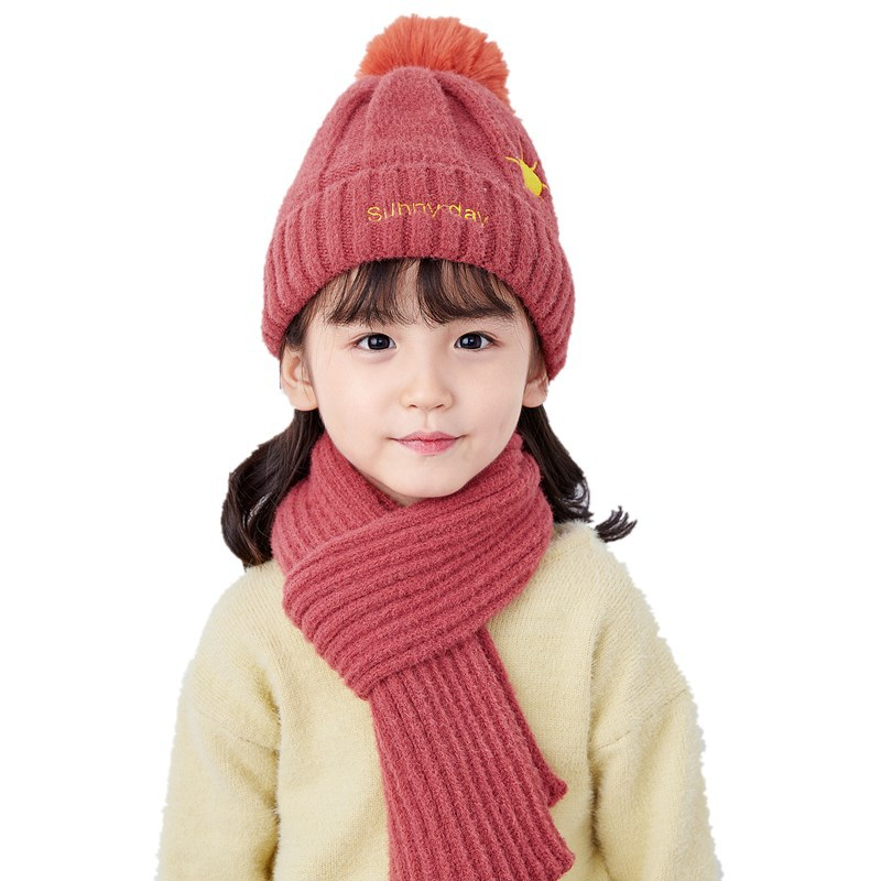 Kids Winter Hats Girls Boys Children Crochet Warm Caps Scarf Set Nitted Hat Two-piece Christmas Gifts Wholesale Cute Fashion