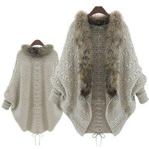Женский свитер 2019, свободный свитер с меховым воротником, вязанный кардиган с рукавом летучая мышь, меховой воротник, рубашка летучая мышь, куртка, пальто для осени и зимы