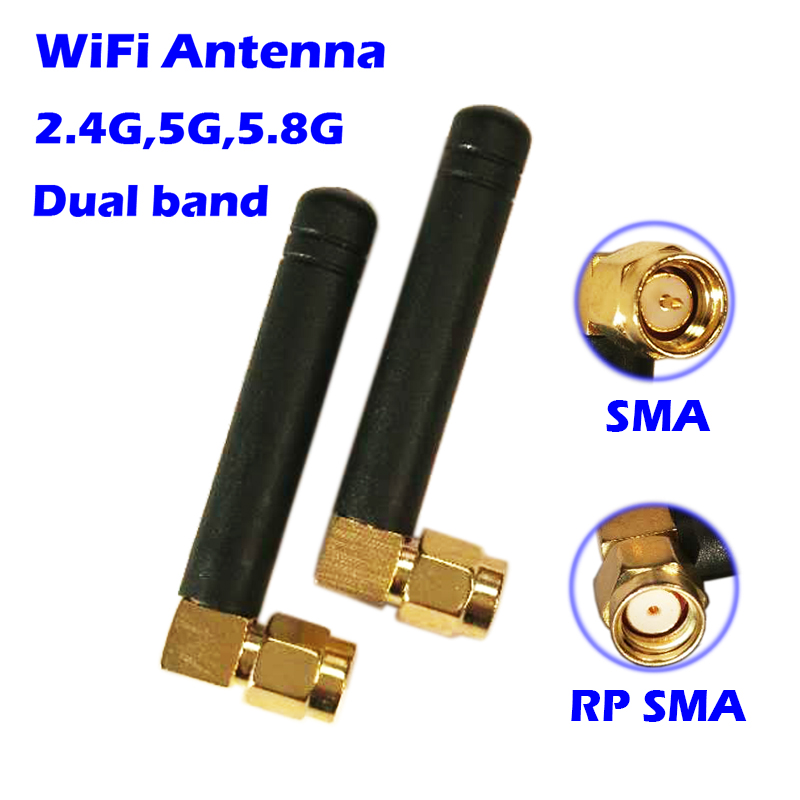 WiFi Antenna 2.4GHz/5.8GHz dual band 3dbi RPSMA/SMA Connector Rubber Aeria for mini PCI