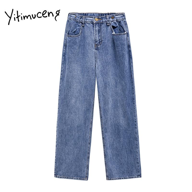 Yitimuceng Pantalones Vaqueros De Cintura Alta Para Mujer Vaqueros Plisados De Longitud Completa Pantalones Flojos Rectos Informales Pantalones Vaqueros Aliexpress