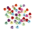 DoreenBeads Милые акриловые бусины в форме сердца случайного цвета инициальный Алфавит узор эмаль для женщин DIY Ювелирные изделия около 7 мм x 7 мм,...