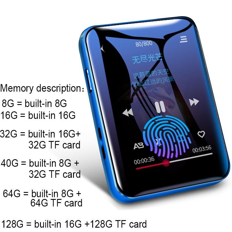 Benjie X1 Bluetooth MP4 Speler Touch Screen 8Gb 16Gb Muziekspeler Met Fm Radio Video Speler E-book Speler MP3 Met Luidspreker 6