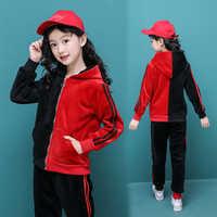 2019 New Children Kids girls Clothing Winter Sets Hooded Coat Suits Fall pleuche Coat+Pant 2Pcs Clothes set 4 5 6 8 12 15 Years