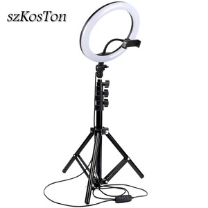 Image 1 - 10inch 26cm Photography LED Ring Light Kit Phone Studio Camera Light Makeup Video Fill Lamp With Phone Clip Tripod Stand 120 LED