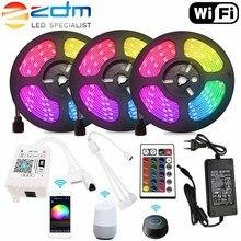 цена на 5M 10M 15M WIFI LED Strip Light RGB SMD 5050 3528 12V LED Light Strip Flexible Home Decoration tira RGB LED waterproof