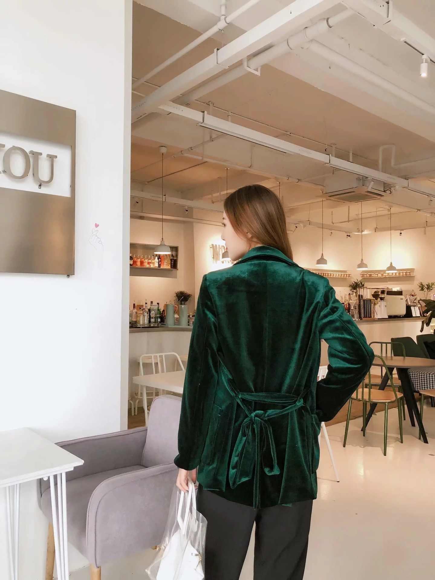 Frauen Elegante Samt Dunkelgrün Blazer Jacke mit Schärpen In Weichen Touch