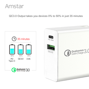 Image 4 - Amstar 48W Quick Charge QC4.0 3.0 USB C Fast Charger for iPhone 11 Pro XS Samsung 10 Huawei 30W PD Charger Type C Travel Adapter