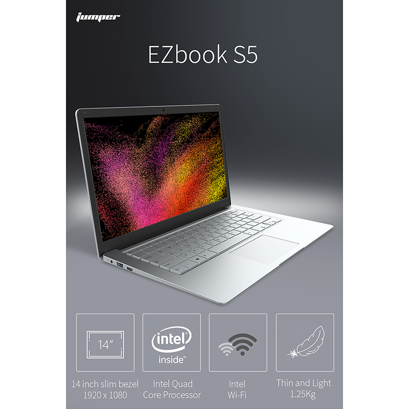 2020 Newest Jumper EZbook S5 14.0 Inch IPS Laptop N3450 Quad Core 8GB DDR4+256GB SSD Windows 10 Ultrathin Notebook
