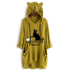 Милые женские пальто с капюшоном и принтом кота, женские уличные толстовки в стиле Харадзюку с длинным рукавом средней длины, женские толст...