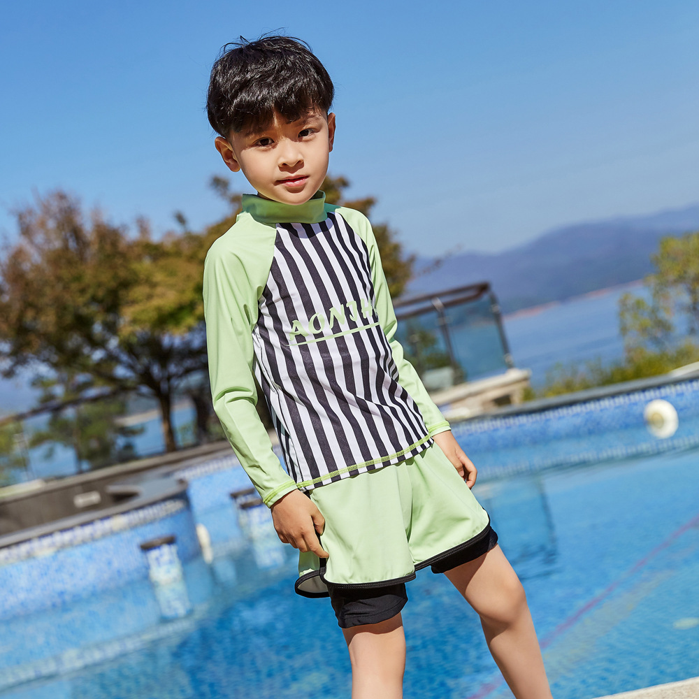 2019 New Style Hot Sales Two-piece Swimsuits Long Sleeve Shorts Striped Letters Stand Collar Sun-resistant Beach BOY'S KID'S Swi