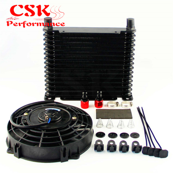 "10-AN 32mm Aluminum 15 Row Engine/Transmission Racing Oil Cooler+7"" Electric Fan Kit w/ Fittings Black"