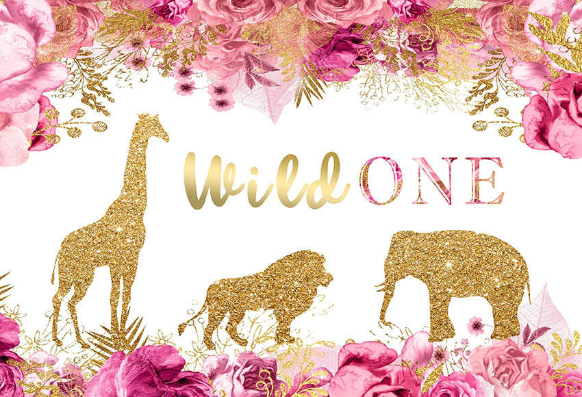 7x5ft Safari Selvagem Um Elefante Leão de Ouro Rosa Flor Lantejoulas Personalizado Photo Studio Backdrop Bandeira do Vinil 220 centímetros x 150 centímetros