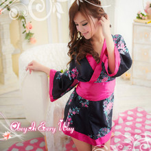 Cosplay Japanese Short Kimono Dress Sexy Lingerie Cute Sweet Satin Bell sleeve With Bow and Belt Sexy Kimono недорого