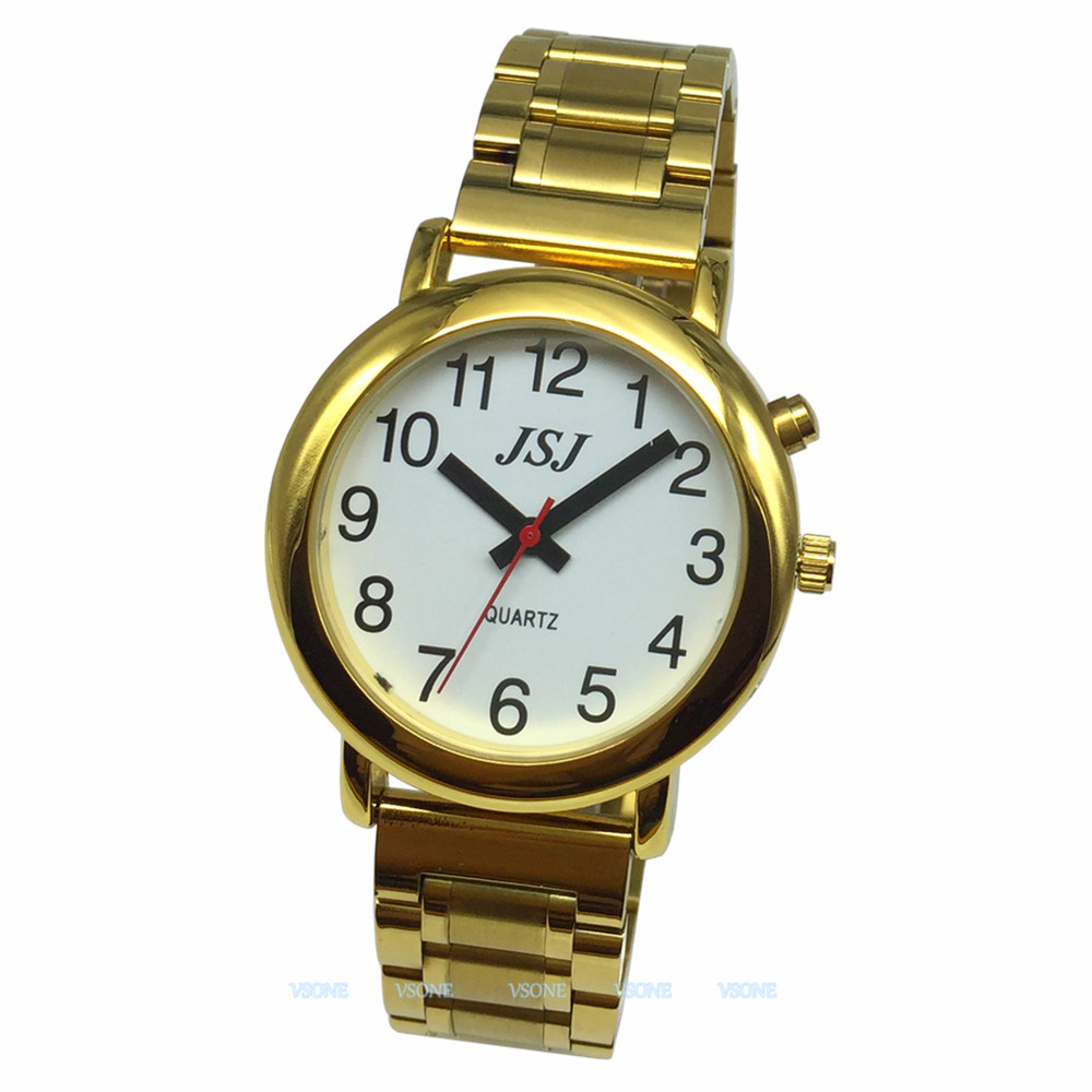 English Talking Watch With Alarm Function, Talking Date And Time, White Dial, Folding Clasp, Golden Case TAG-508
