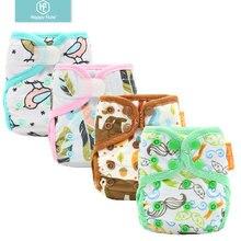 Happyflute новорожденный с принтом PUL дизайн оснастки или Крюк& Петля эко-ткань пеленки крышка ребенка