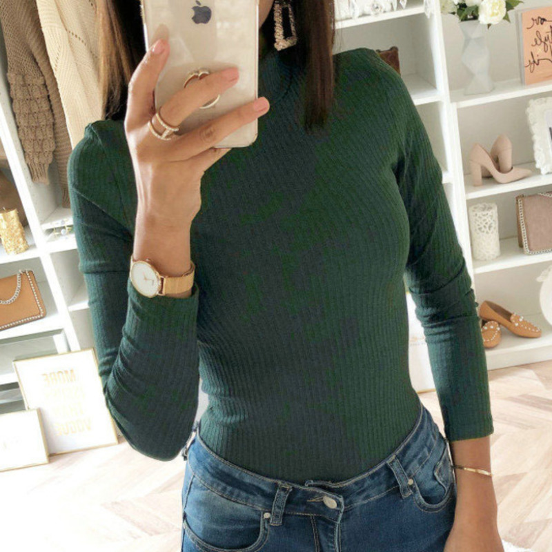 Ribbed Knitted Turtleneck Bodysuit Women Long Sleeve Green Gray Khaki Sexy Bodycon Bodysuit Autumn 2019 Body Tops