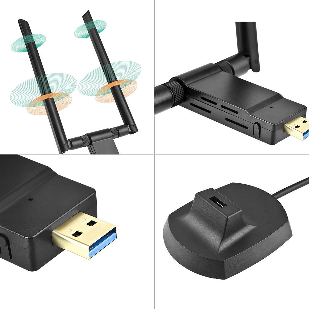 Wifi адаптер ключа 2,4G 5G 1200Mpbs двухдиапазонный беспроводной приемник передатчик Аксессуары ABS высокоскоростной USB3.0 сетевые карты