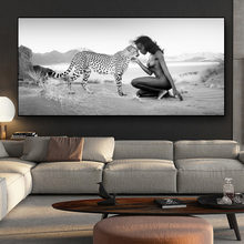 Черно белый Снежный леопард и обнаженные женщины пейзаж плакаты