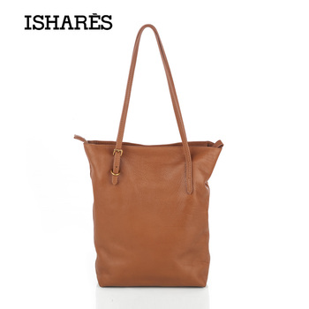 ISHARES new cow leather shoulder bags genuine leather Vintage light soft handbags designer bags women big tote bags IS8116