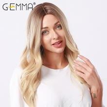 Длинные волнистые парики gemma Омбре черный коричневый блонд