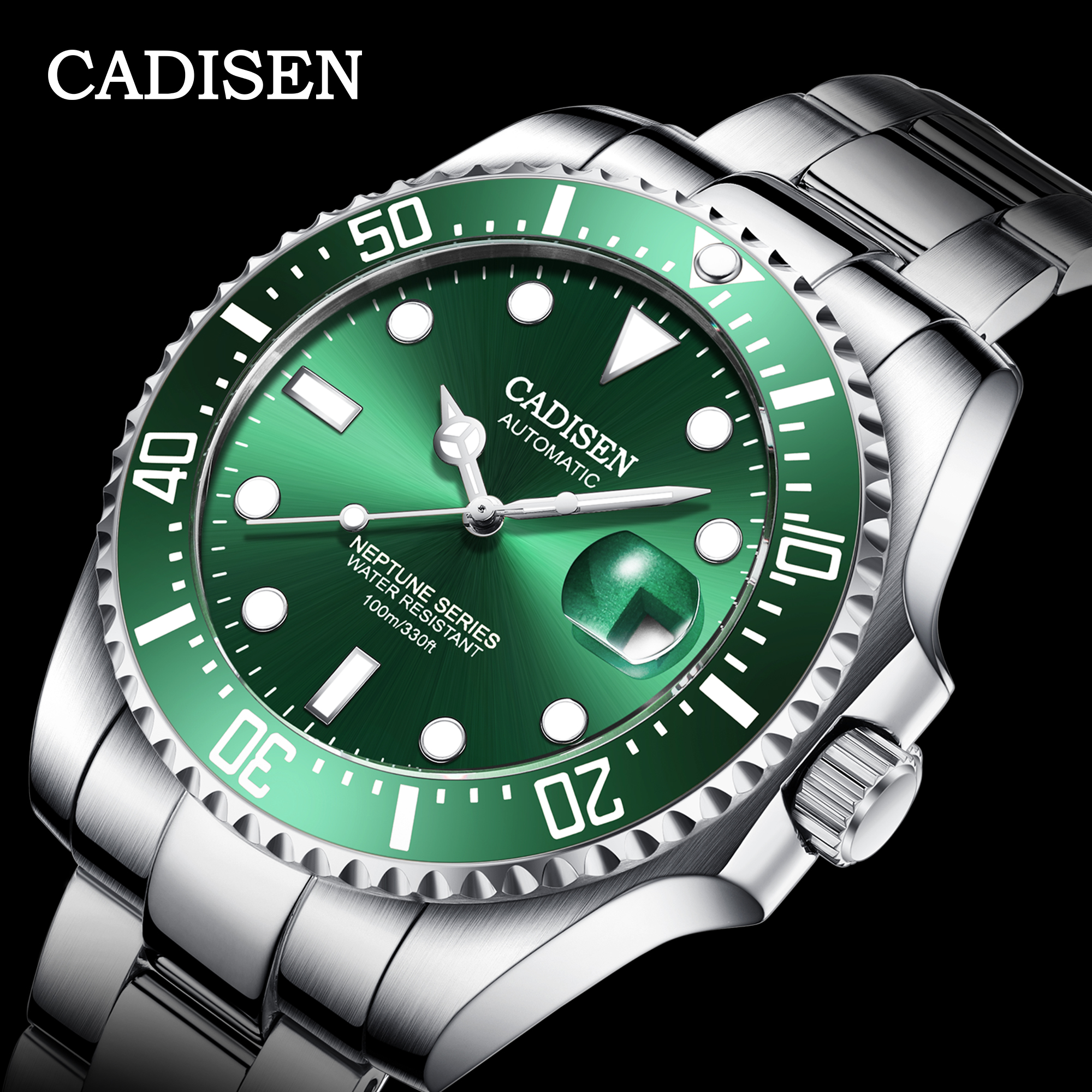 CADISEN Brand 2020 New Automatic Mechanical Men Watch <font><b>100M</b></font> Waterproof Male NH35A Movement Sports Wrist Watch Relogio Masculino image