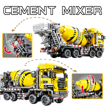 SEMBO 1143PCS Building Block City Engineering Technology Cement Mixer Truck Construction Vehicle Toys  For Children gift No Box new sembo block engineering city construction container truck fit technic building blocks toys bricks toys for children kid gift