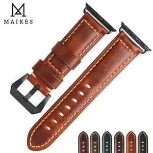 Image 2 - MAIKES accesorios para reloj apple watch, correa de cuero de vaca genuino, 40mm, 38mm, Correa marrón para apple watch de 44mm y 42mm, pulsera iwatch 4