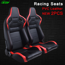R-EP 2PCS Racing Seat Adjustable Universal for Sport Car Simulator Bucket Seats Black-Red PVC Leather 1 Pair XH-1054-BR
