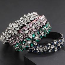 Diadema con personalidad exagerada salvaje de moda, Nueva Barroca de lujo con partículas en forma de corazón, diadema de flores con diamantes de imitación 743