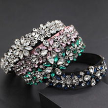 Fashion wild exaggerated personality headband New Baroque luxury heart shaped particles rhinestone flower fashion headband 743