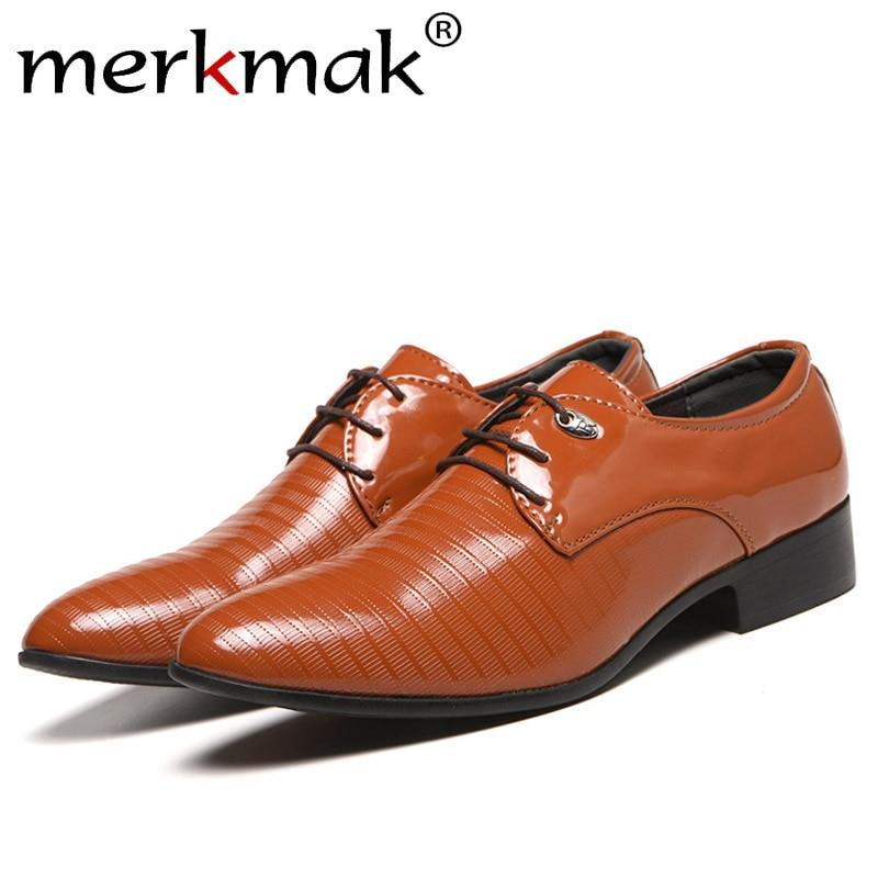 Merkmak 38-48 Men's Lace-Up Oxfords Dress Shoes Men's PU Leather Business Office Wedding Flats Man Casual Party Driving Shoes