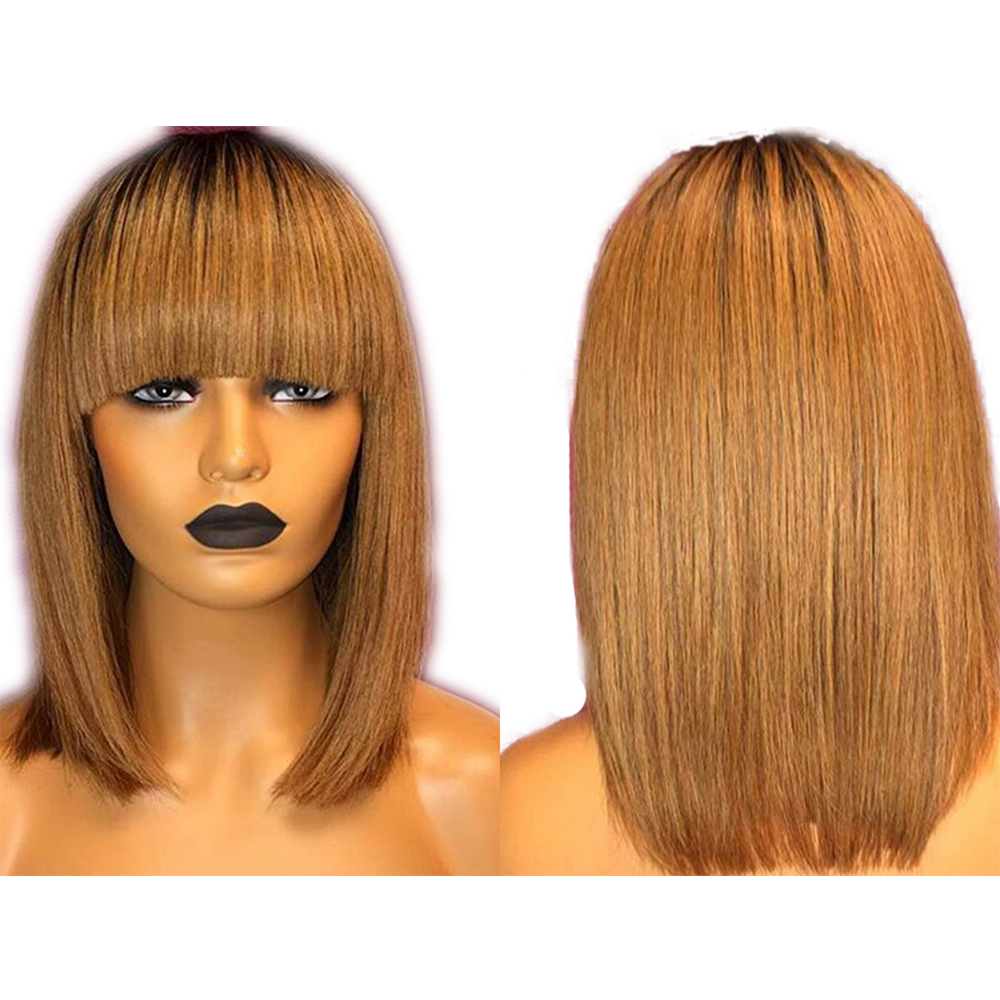SimBeauty Honey Blonde 13x4 Lace Front Wigs Fringe Wig Peruvian Remy Ombre Wig Short Bob Wig Straight Human Hair Wigs With Bangs